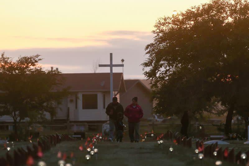 FILE PHOTO: Lights mark graves on Cowessess First Nation