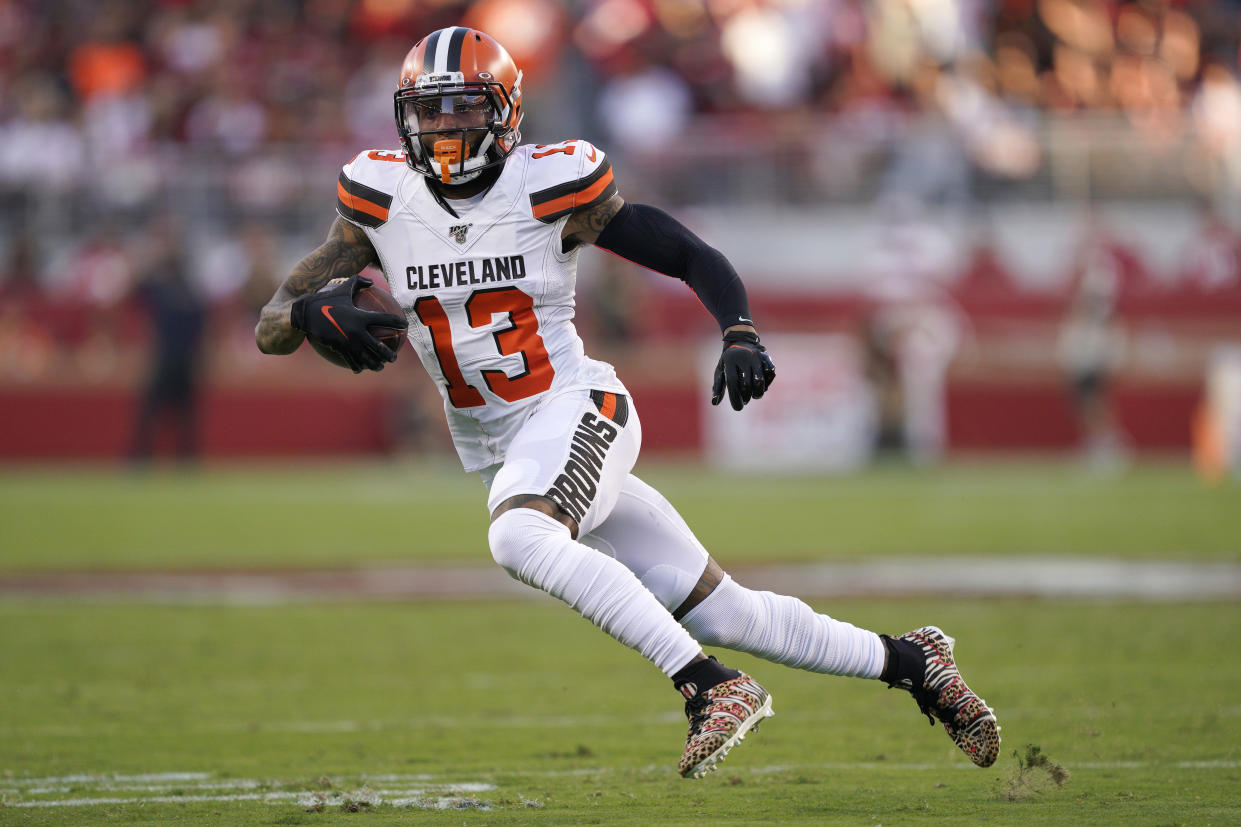 Cleveland Browns wide receiver Odell Beckham Jr. (13) runs against the San Francisco 49ers during the first half of an NFL football game in Santa Clara, Calif., Monday, Oct. 7, 2019. (AP Photo/Tony Avelar)