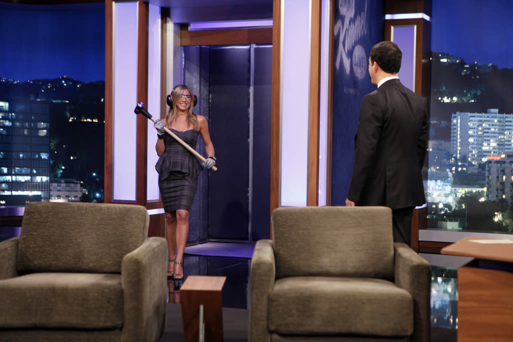 "JIMMY KIMMEL LIVE - Emmy Award-nominated ""Jimmy Kimmel Live"" has moved! Tonight was the first installment of the late-night show in its brand new times slot, 11:35PM/10:35PM CT. To kick things off, the guests for TUESDAY, JANUARY 8 included actress Jennifer Aniston and musical guest No Doubt. (Photo by Randy Holmes/ABC via Getty Images)