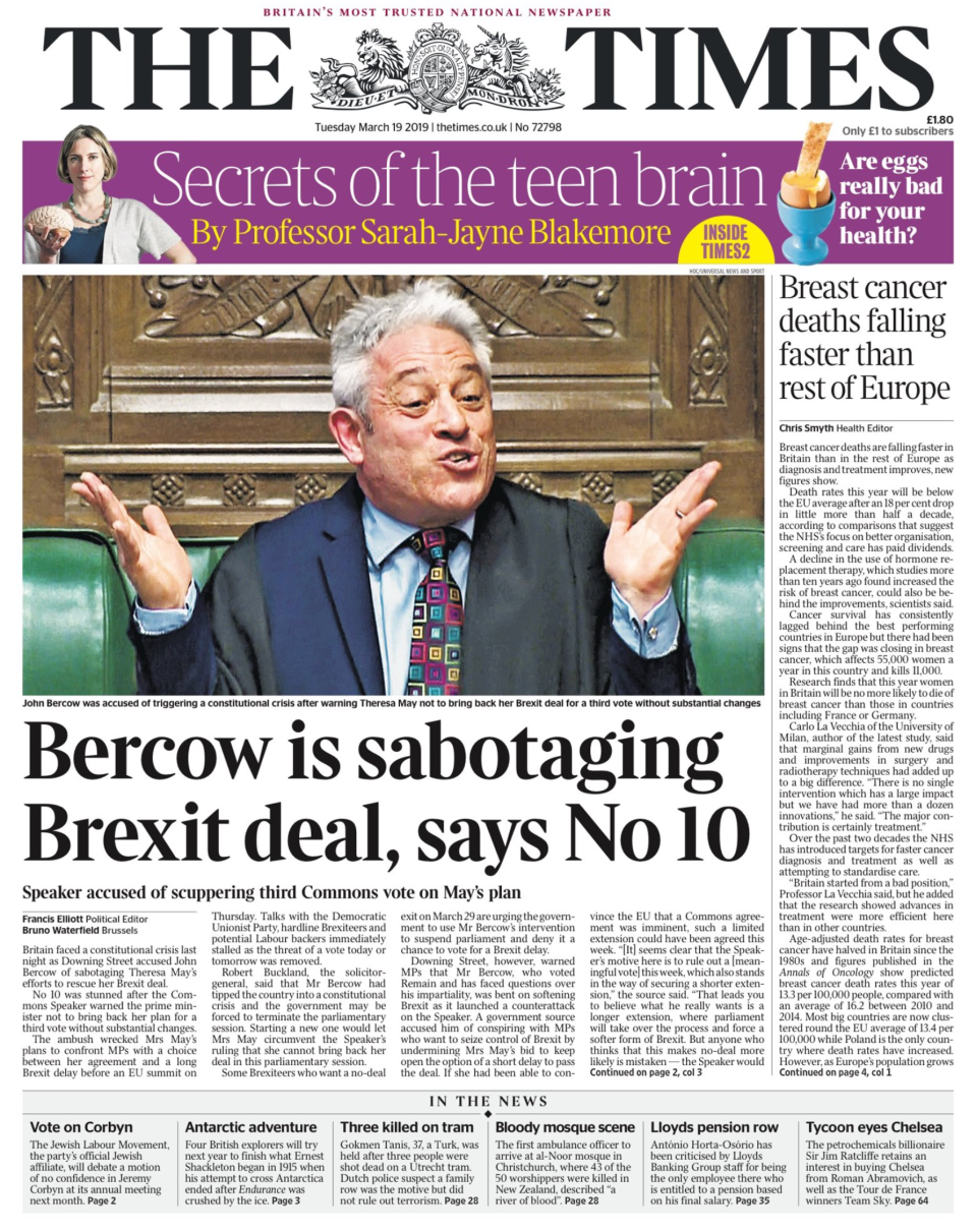 "<p>Bercow is sabotaging Brexit deal, says No 10 – The paper's leader adds: ""The best option is for parliament to back Mrs May's deal in a vote next week. </p>"