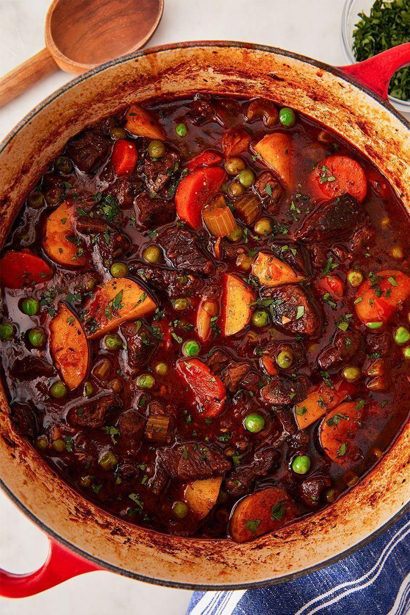 """<p>Wine helps develop richer, more complex flavours in your stew. If you don't have any leftover cooking wine on hand, your stew will be delicious without it—just sub in more beef stock! </p><p>Get the <a href=""""https://www.delish.com/uk/cooking/recipes/a31127970/easy-beef-stew-recipe/"""" rel=""""nofollow noopener"""" target=""""_blank"""" data-ylk=""""slk:Classic Beef Stew"""" class=""""link rapid-noclick-resp"""">Classic Beef Stew</a> recipe.</p>"""