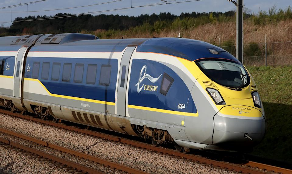 A Eurostar e320 high-speed train heads towards France through Ashford in Kent as the continuing COVID-19 crisis has forced it to slash services from the normal level of more than 50 trains a day with a 95 percent fall in passenger numbers. Picture date: Thursday January 21, 2021. (Photo by Gareth Fuller/PA Images via Getty Images)