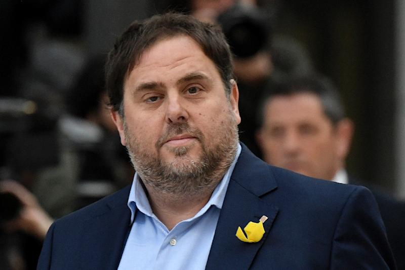 Oriol Junqueras hopes to lead his ERC party, which is ahead in the polls, to victory on December 21 (AFP Photo/GABRIEL BOUYS                     )