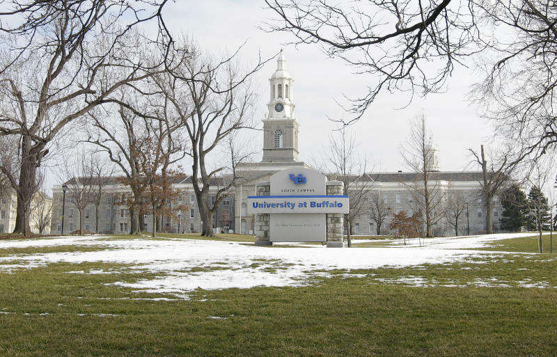 In this Wednesday, Feb. 15, 2012 file photo shows the University at Buffalo campus in Buffalo, N.Y.  Sebastian Serafin-Bazan, a University at Buffalo student, died Wednesday, April 17, 2019, from a suspected hazing incident last week. The 18-year-old freshman from Port Chester, N.Y., was hospitalized early Friday morning after the incident at an off-campus house. (AP Photo/David Duprey, File)