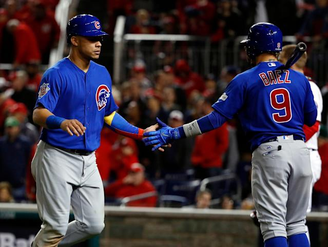 Willson Contreras and Javier Baez have been enjoying great starts to the season — time to sell high. (AP Photo/Pablo Martinez Monsivais)