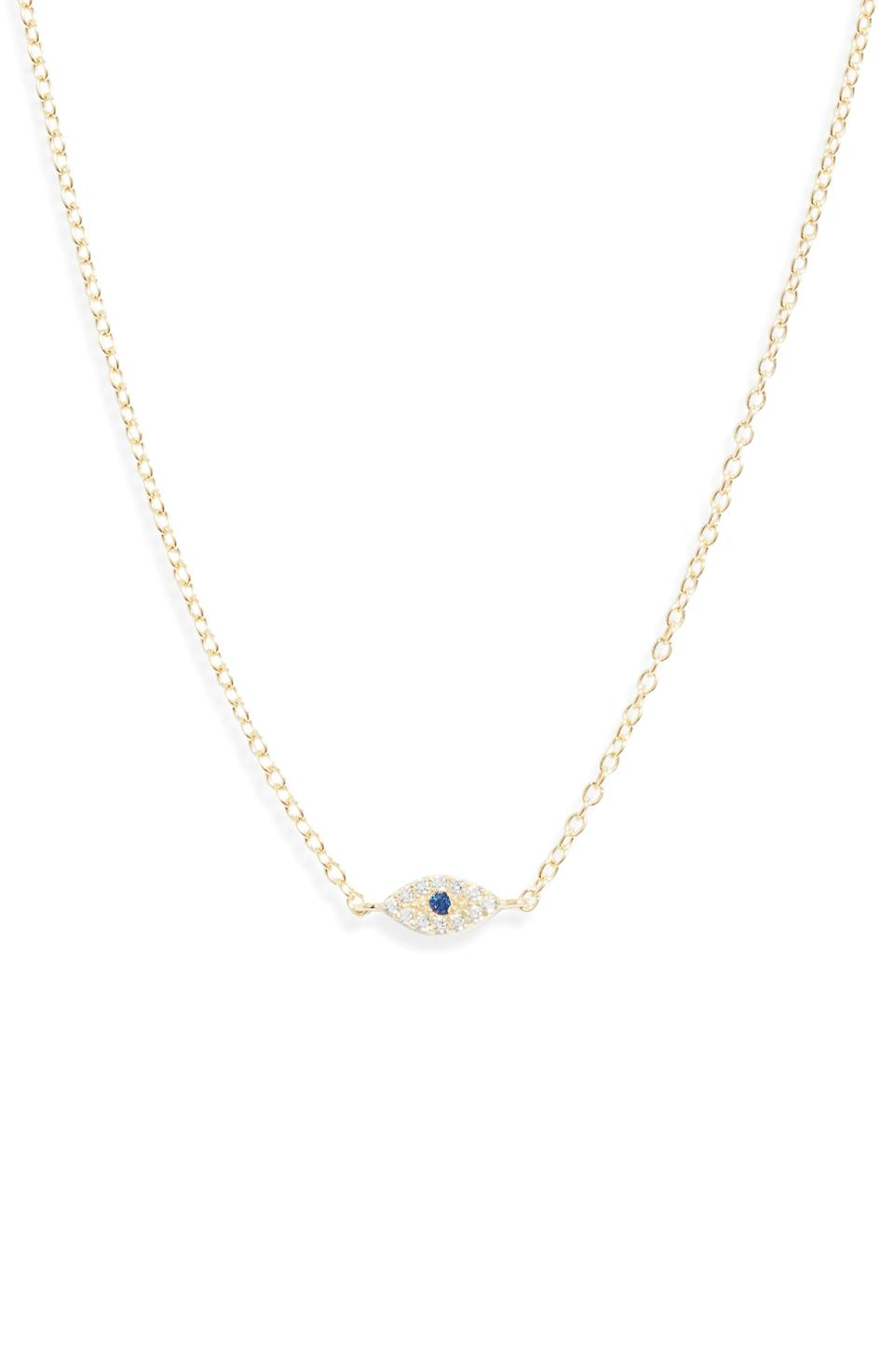 "<br> <br> <strong>Adina's Jewels</strong> Evil Eye Necklace, $, available at <a href=""https://go.skimresources.com/?id=30283X879131&url=https%3A%2F%2Fshop.nordstrom.com%2Fs%2Fadinas-jewels-evil-eye-necklace%2F5385320"" rel=""nofollow noopener"" target=""_blank"" data-ylk=""slk:Nordstrom"" class=""link rapid-noclick-resp"">Nordstrom</a>"