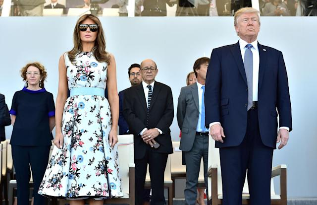 <p>First Lady Melania Trump and President Donald Trump attend the annual Bastille Day military parade on the Champs-Elysees in Paris, France, July 14, 2017. (Photo: Christophe Archambault/Pool/Reuters) </p>