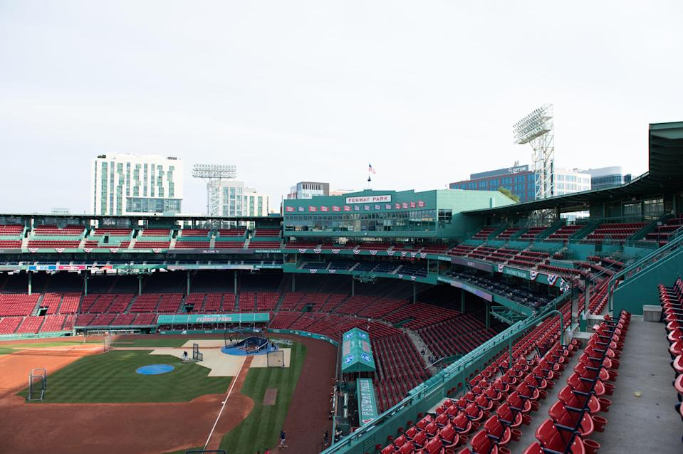 Boston's famous Fenway Park, where the Red Sox play, lies empty in July 2020 after the season was postponed since March due to CovidGetty Images