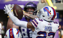 <p>Buffalo Bills defensive back Micah Hyde (23) breaks up a two-point conversion pass intended for Minnesota Vikings tight end Kyle Rudolph, rear, during the second half of an NFL football game, Sunday, Sept. 23, 2018, in Minneapolis. (AP Photo/Bruce Kluckhohn) </p>