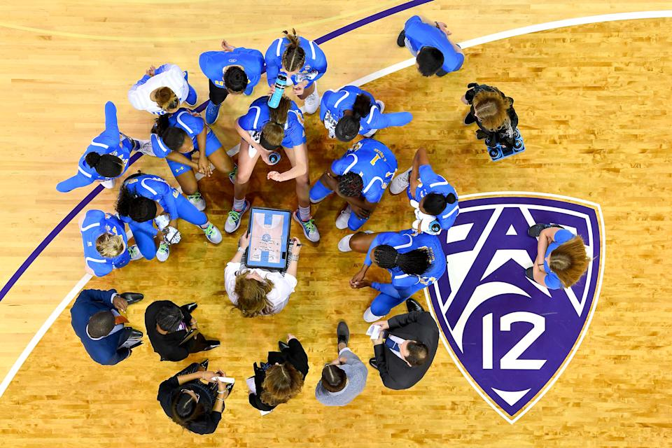 UCLA women's basketball team huddles from above.