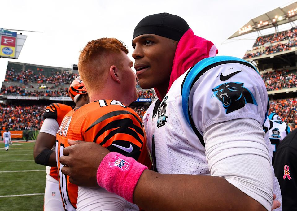 Should veteran NFL QBs Cam Newton, right, and Andy Dalton switch uniforms one more time this year?