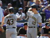 Pittsburgh Pirates' Bryan Reynolds, right, congratulates Steven Brault who returns to the dugout after hitting a solo home run off Colorado Rockies relief pitcher Jesus Tinoco in the seventh inning of a baseball game Sunday, Sept. 1, 2019, in Denver. (AP Photo/David Zalubowski)