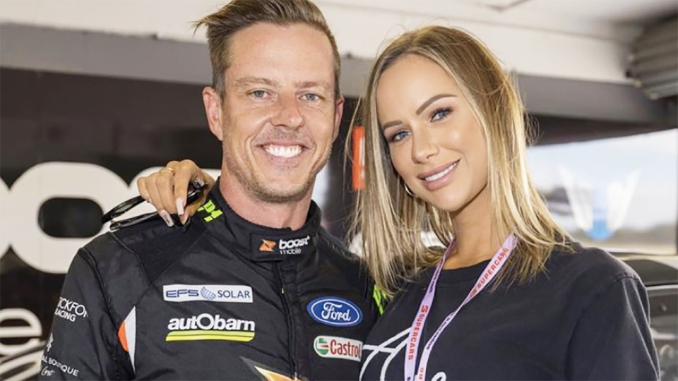 Supercars driver James Courtney is pictured with partner Teagan Woodford.