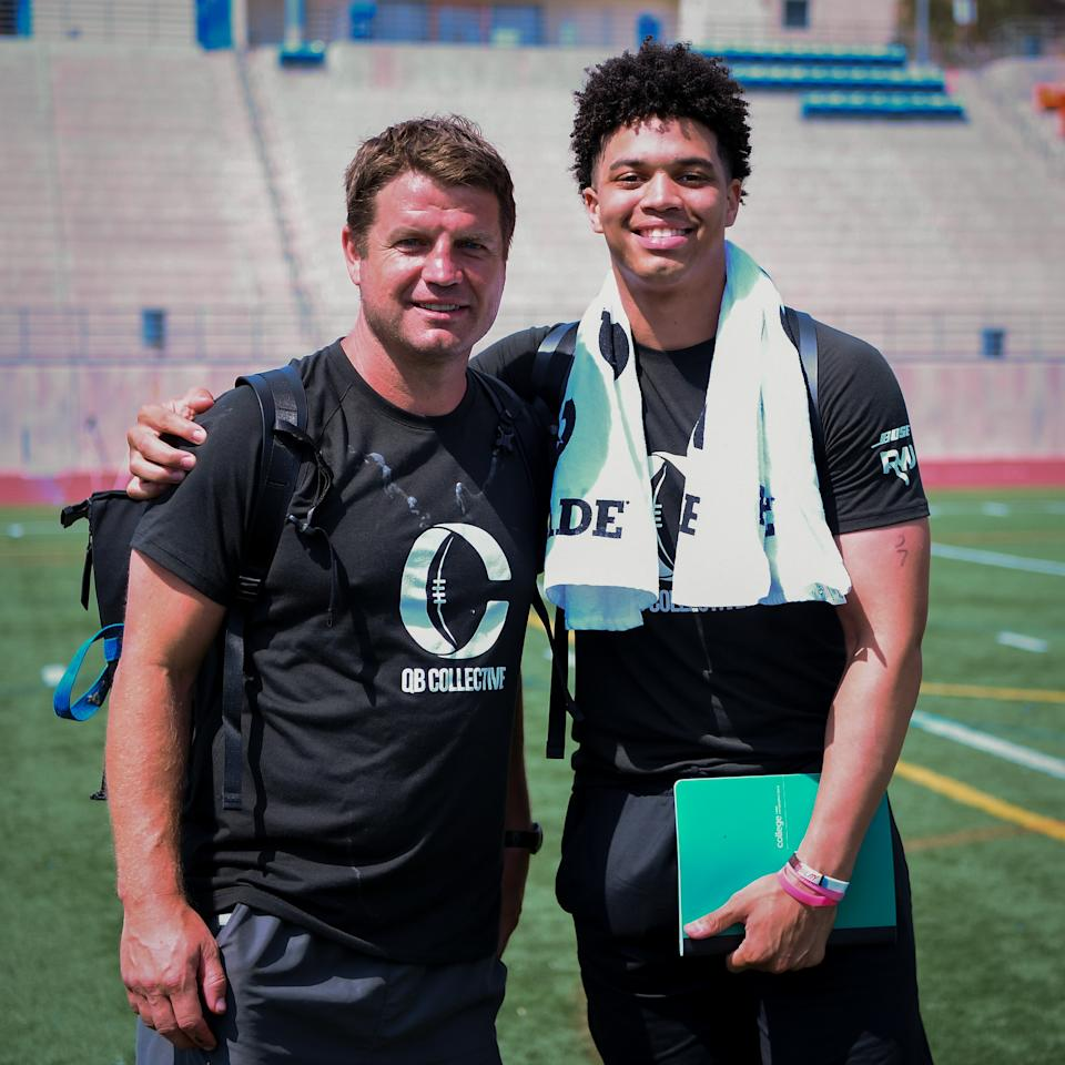 Caleb Williams (R) is shown with former Jets offensive coordinator Jeremy Bates at the QB Collective in July.