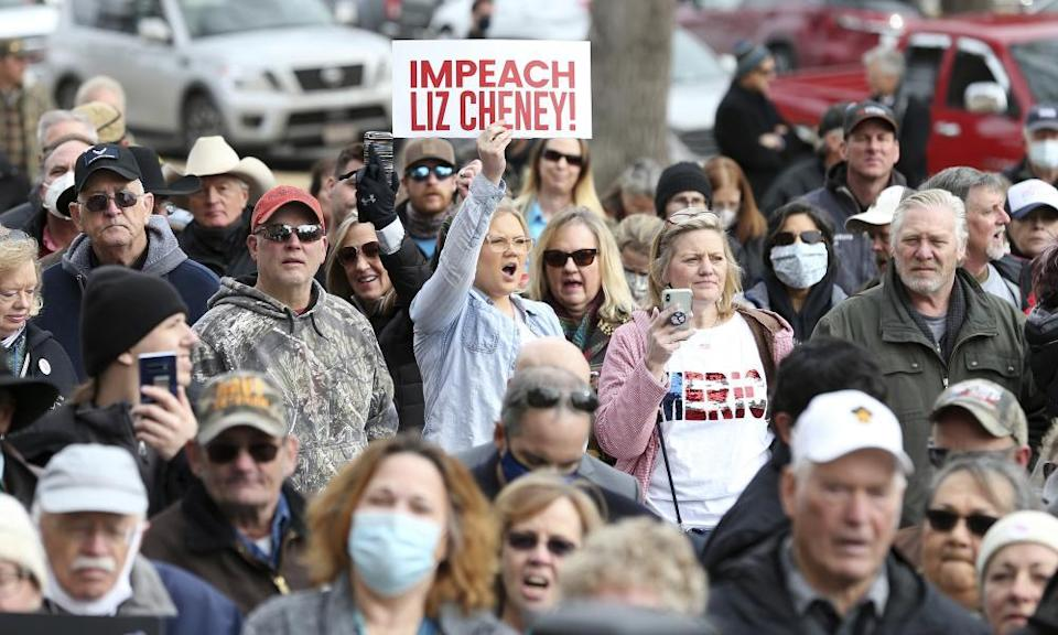 A protester shouts in agreement with the Republican representative Matt Gaetz as he gives a speech during a rally against Representative Liz Cheney on Thursday.