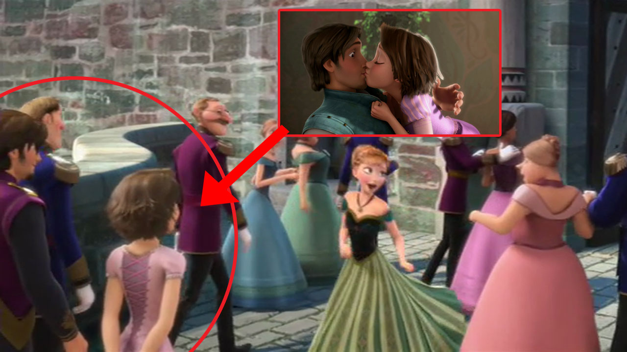 Tangled in Frozen: On the day of Elsa's coronation you can spot Rapunzel and Eugene, the heroes of Disney's 'Tangled', in the crowd.