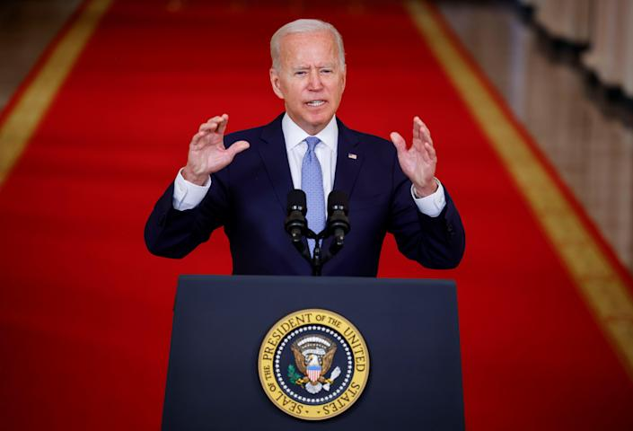 President Joe Biden delivers remarks on Afghanistan during a speech in the State Dining Room at the White House in Washington, U.S., August 31, 2021 (REUTERS)