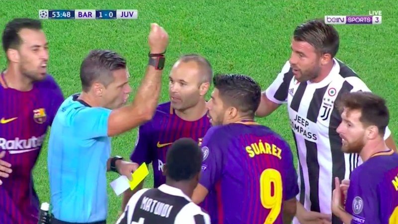 Skomina demonstrates the reason behind the card. Pic: beIN