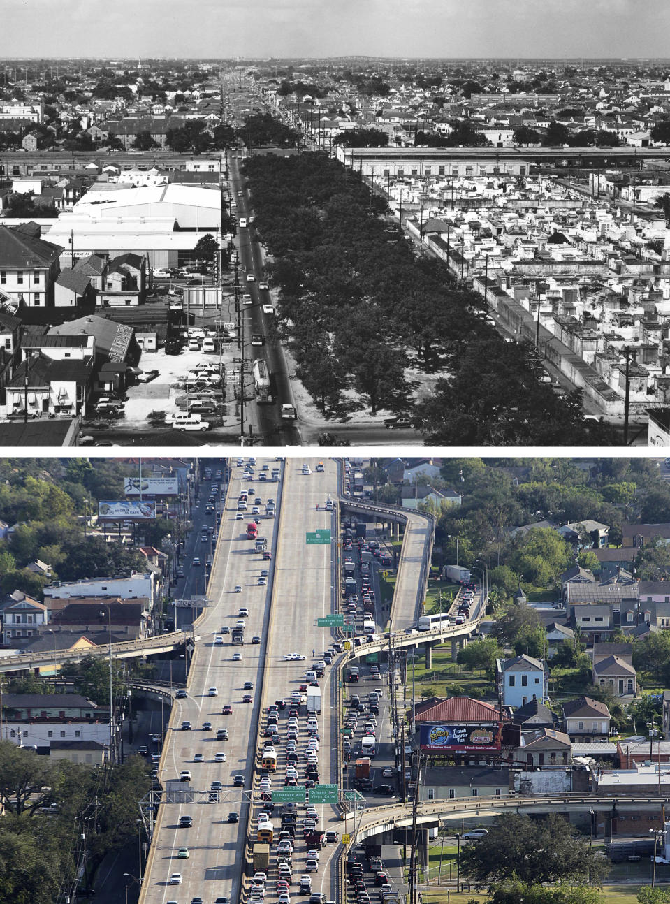 This photo combination shows an aerial view of Claiborne Avenue lined with oak trees in the heart of New Orleans in August 1968, top, and a view of the elevated expressway that now runs along Claiborne Avenue past Esplanade. (City Archives & Special Collections, New Orleans Public Library, top, and Gerald Herbert, bottom, via AP)