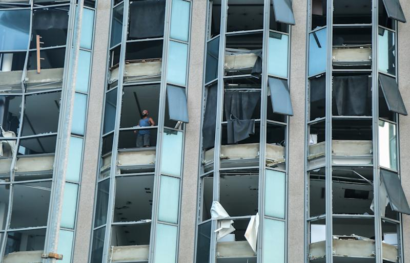04 August 2020, Lebanon, Beirut: The facade of a building is seen shattered following a massive explosion in Beirut's port. Photo: Marwan Naamani/dpa (Photo by Marwan Naamani/picture alliance via Getty Images)