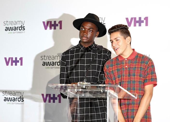 Rickey Thompson and Lohanthony attend The 5th Annual Streamy Awards Nomination Celebration at Annenberg Community Beach House on August 12, 2015 in Santa Monica, California.