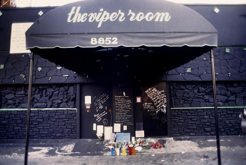 LOS ANGELES - NOVEMBER 1: The exterior of The Viper Room the day after the death of actor River Phoenix. Fans have left flowers, candles and notes at the spot where he collapsed on November 1, 1993 in Los Angeles, California. (Photo by Michael Ochs Archives/Getty Images)