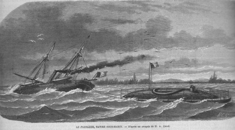 <p>The history of submarines is surprisingly long,dating back to 415 B.C. The first submarine propelled by something other human power was the French Plongeur<span>, which relied on compressed air to propel itself. It was first used in 1863, and was retired by 1872. The sub was the inspiration for<em>20,000 Leagues Under the Sea.</em></span></p>