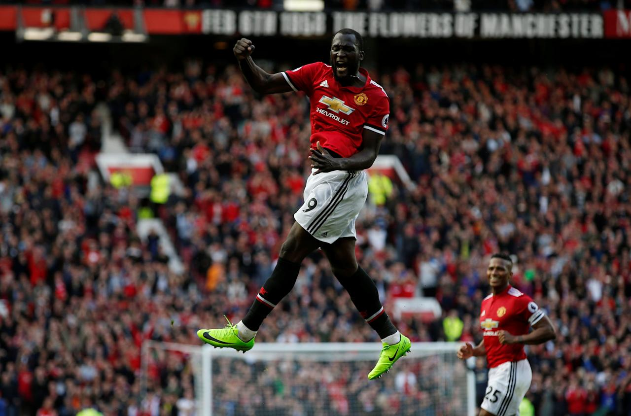 """Soccer Football - Premier League - Manchester United vs Everton - Old Trafford, Manchester, Britain - September 17, 2017   Manchester United's Romelu Lukaku celebrates scoring their third goal                        REUTERS/Andrew Yates    EDITORIAL USE ONLY. No use with unauthorized audio, video, data, fixture lists, club/league logos or """"live"""" services. Online in-match use limited to 75 images, no video emulation. No use in betting, games or single club/league/player publications. Please contact your account representative for further details.     TPX IMAGES OF THE DAY"""