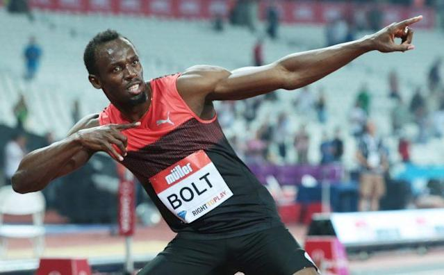 "<a class=""link rapid-noclick-resp"" href=""/olympics/rio-2016/a/1056797/"" data-ylk=""slk:Usain Bolt"">Usain Bolt</a> after 200m Men during IAAF Diamond League Muller London Anniversary Games. (Getty)"