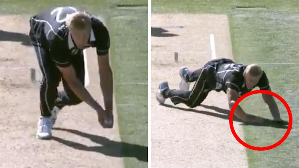 New Zealand's Kyle Jamieson had this caught and bowled overturned, after the ball hit the ground first as he fell to the turf. Pictures: Spark Sports