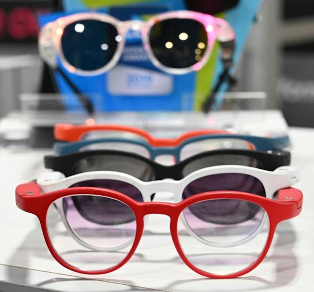 Serenity smart eyeglasses from France-based startup Ellcie Healthy are displayed at the 2020 Consumer Electronics Show (AFP Photo/Robyn Beck)