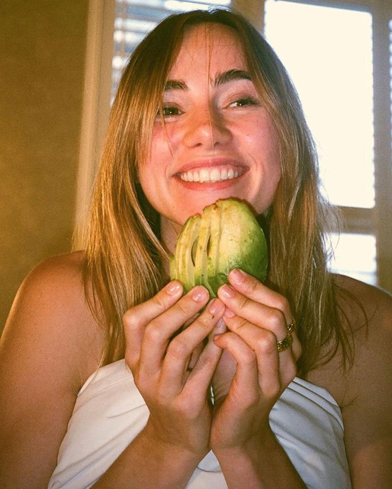 "We spy an avo-holic! The British model and actress was all smiles posing with a <a href=""https://www.instagram.com/p/B00qepaAx9A/"">perfectly-sliced avocado</a>."