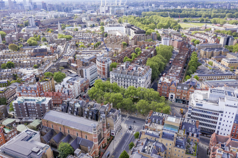 LONDON,ENGLAND - MAY 14: (EDITORS NOTE: Full Flight Permissions) An aerial view by drone of Sloane Square showing London and the River Thames behind showing Peter Jones store and Sloane Square tube station on May 14,2020 in London,England. (Photo by Chris Gorman/Getty Images)