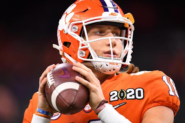 Clemson's Trevor Lawrence looks on before taking on the LSU Tigers during the CFP title game on Jan. 13, 2020. (Jamie Schwaberow/Getty)