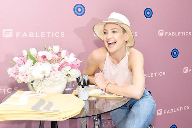 <p>Girls just wanna have fun, and Kate Hudson looked like she was doing just that at an event for her athleisure line, Fabletics. (Photo: Stefanie Keenan/Getty Images for Fabletics) </p>