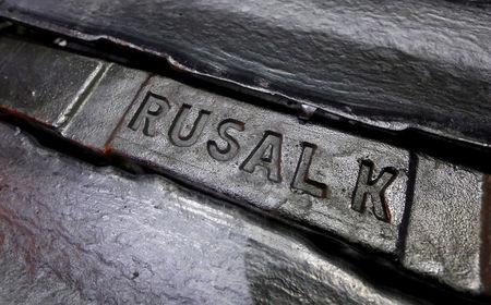 FILE PHOTO: Aluminium ingots are seen stored at the foundry shop of the Rusal Krasnoyarsk aluminium smelter in the Siberian city of Krasnoyarsk, Russia November 9, 2017. REUTERS/Ilya Naymushin/File Photo