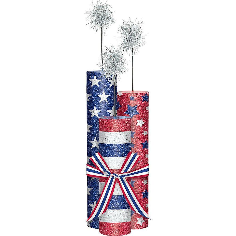 """<p>partycity.com</p><p><strong>$5.99</strong></p><p><a href=""""https://go.redirectingat.com?id=74968X1596630&url=https%3A%2F%2Fwww.partycity.com%2Fglitter-patriotic-fireworks-centerpiece-740351.html%3Fcgid%3D4th-of-july-decorations&sref=https%3A%2F%2Fwww.womansday.com%2Fhome%2Fdecorating%2Fg2441%2Ffourth-of-july-decorations%2F"""" rel=""""nofollow noopener"""" target=""""_blank"""" data-ylk=""""slk:Shop Now"""" class=""""link rapid-noclick-resp"""">Shop Now</a></p><p>The perfect Fourth of July feast should include a centerpiece that makes people almost as excited as the delicious food. </p>"""
