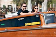 <p>Penélope Cruz and Javier Bardem cruise around during a taxi boat tour in Venice, Italy, on Sept. 11.</p>