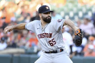 Houston Astros starting pitcher Jose Urquidy delivers against the Baltimore Orioles in the first inning of a baseball game, Wednesday, June 23, 2021, in Baltimore. (AP Photo/Will Newton)