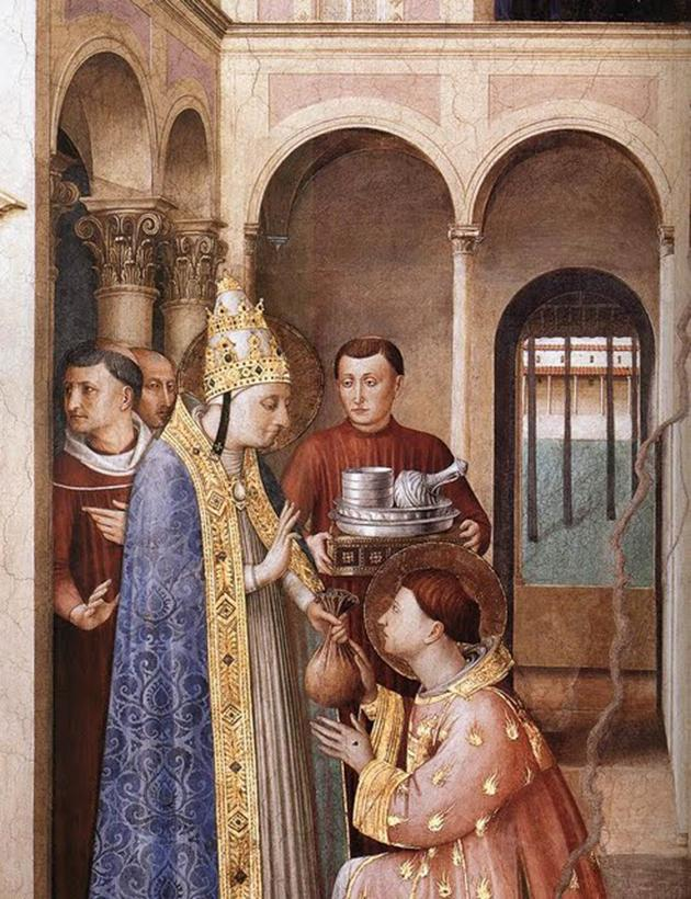 St Lawrence receives the treasures of the Church.
