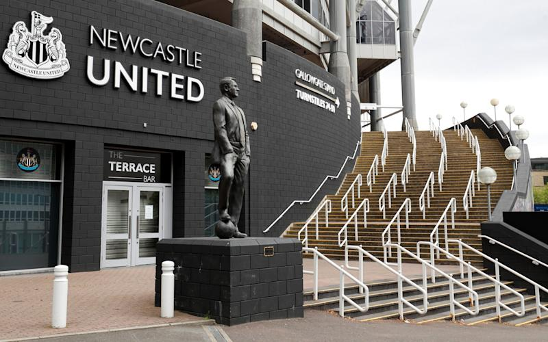 A statue of Bobby Robson is seen outside the stadium at the time the final match of season between Newcastle United and Liverpool was due to take place before it was postponed due to the outbreak of the coronavirus disease (COVID-19) - REUTERS