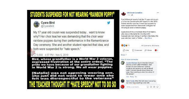Right-wing Facebook page Old Stock Canadian shared a meme about the suspension.