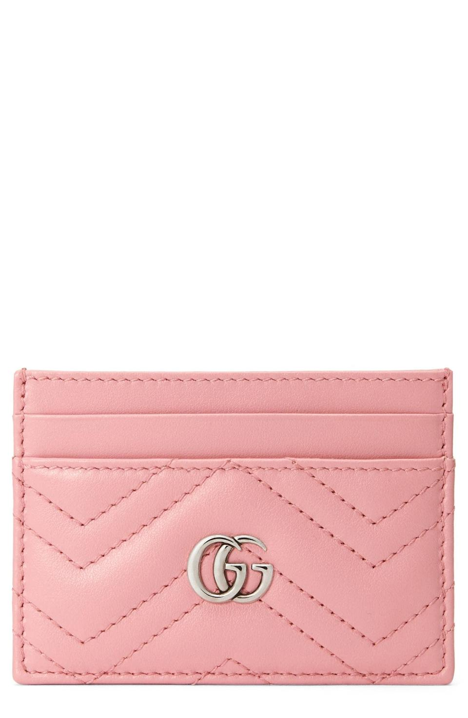 <p>This eye-catchy <span>Gucci GG Quilted Leather Card Case</span> ($250) is a pink-lover's dream.</p>