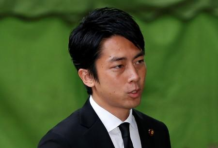 Shinjiro Koizumi, a Japanese lawmaker from the ruling Liberal Democratic Party and son of former Prime Minister Junichiro Koizumi, leaves after visiting the Yasukuni Shrine in Tokyo