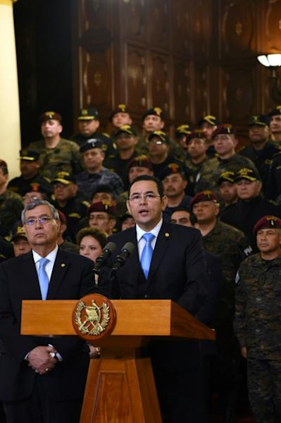 Guatemalan President Jimmy Morales delivers a press conference in Guatemala City on August 31, 2018. Morales announced Guatemala will not renew the mandate of a UN anti-corrption mission, which he accused of interfering in the country's internal affairs