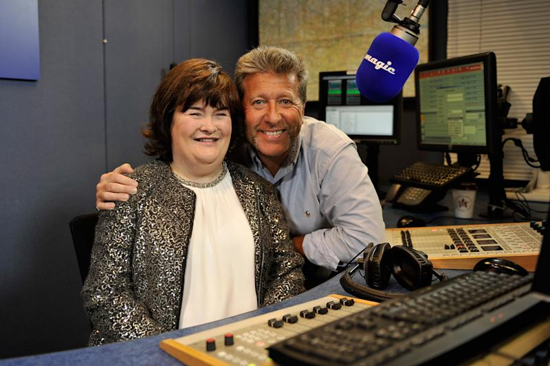 LONDON, ENGLAND - NOVEMBER 12: (EXCLUSIVE COVERAGE) Susan Boyle (L) meets DJ Neil Fox at Magic FM studios during the recording of her Magic FM Christmas Special on November 12, 2013 in London, England. (Photo by Gareth Cattermole/Getty Images)