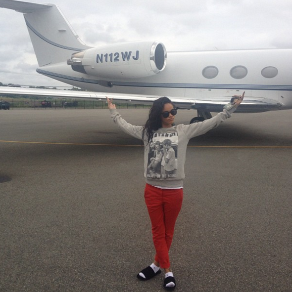 """<p>How big is RiRi's savings account to be able to afford to travel on this bad boy? So big! <i>(Photo: <a rel=""""nofollow"""" href=""""https://www.instagram.com/p/PHR9I6BMxm/"""">Instagram</a>)</i></p>"""