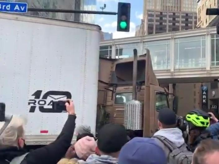 <p>Video showing  a truck driving into a crowd celebrating the guilty of verdict of Derek Chuavin on Tuesday in Minneapolis</p> (Samantha Hendrickson/Twitter)