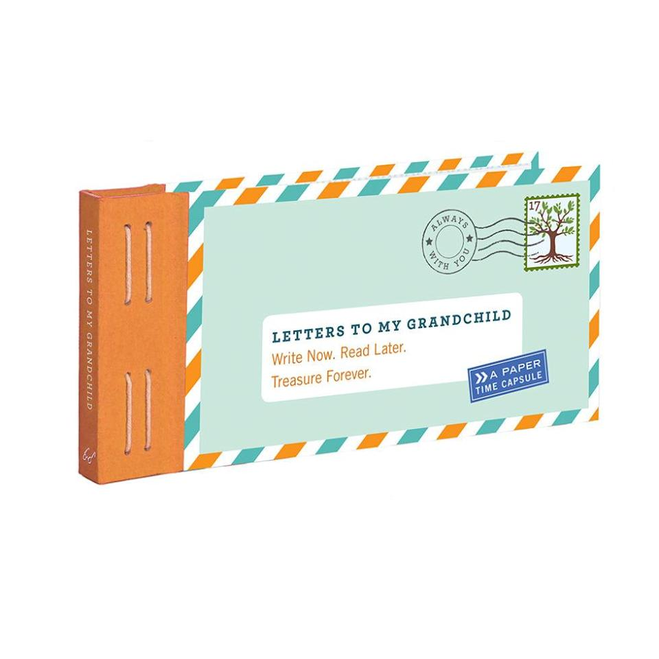 """<p>Perfect for new grandmothers out there! Fill this little book up with notes, stories, and letters they'll have forever. ($14.95; <a href=""""http://www.chroniclebooks.com/titles/letters-to-my-grandchild-1.html"""" rel=""""nofollow noopener"""" target=""""_blank"""" data-ylk=""""slk:chroniclebooks.com"""" class=""""link rapid-noclick-resp"""">chroniclebooks.com</a>)</p>"""
