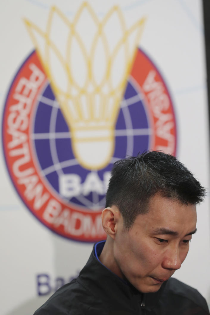 Malaysian badminton player Lee Chong Wei speaks during a press conference in Putrajaya, Malaysia, Thursday, June 13, 2019. Former World No. 1-ranked Lee has announced his retirement from badminton after 19 years following his battle with cancer. (AP Photo/Vincent Thian)